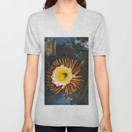 'The Night Blowing Cereus' Cactus by Philip Reinagle (flower) and Abraham Pether (background) Unisex V-Neck