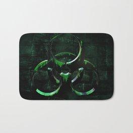 Green Grunge Biohazard Symbol Bath Mat