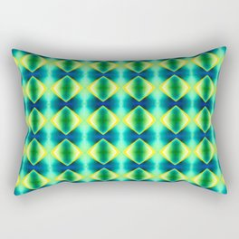 Green Yellow Geometric Metallic Diamond Pattern Rectangular Pillow