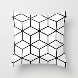 Black and White - Geometric Cube Design I Throw Pillow
