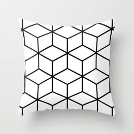 Black and White - Geometric Cube Design I Throw Pillow