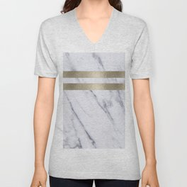 Smokey marble and gilded striped accents Unisex V-Neck