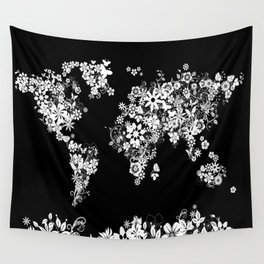 world map floral black and white Wall Tapestry