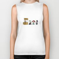 peanuts Biker Tanks featuring Good Grief Bat Peanuts by thedoormouse