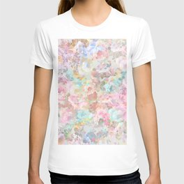 Shabby vintage pink baby blue watercolor floral T-shirt