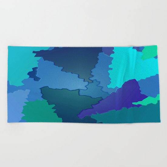 Blues and Greens Puzzle Patchwork Beach Towel