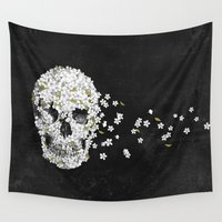 death Wall Tapestries featuring A Beautiful Death - mono by Terry Fan
