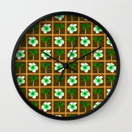 Hawaiian Hibiscus Flowers Palm Trees Wall Clock