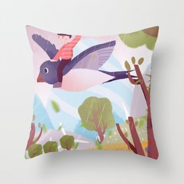Fly Bird And Children Throw Pillow