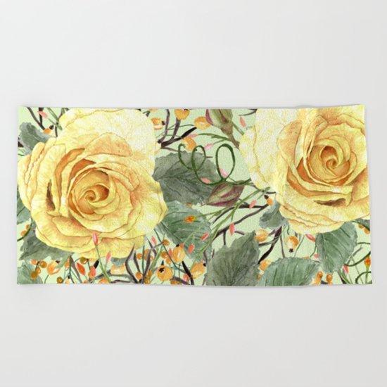 Watercolor Roses #3 Beach Towel