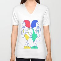girls V-neck T-shirts featuring Girls by afrancesado