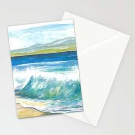 Beach Breaking Waves with Spray in the Bay Stationery Cards
