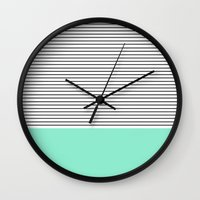 stripes Wall Clocks featuring Minimal Mint Stripes by Allyson Johnson