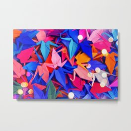 Senbazuru | pink and blues Metal Print