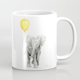 Elephant Watercolor Yellow Balloon Whimsical Baby Animals Coffee Mug