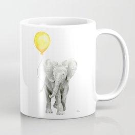 Elephant Watercolor Yellow Balloon Whimsical Baby Animals Coffee Mug
