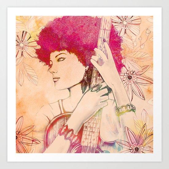 Afro musician girl face african girl Art Print