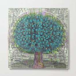 Tree Town - Magical Retro Futuristic Landscape Metal Print