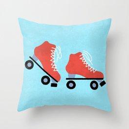 Red Roller Skates Throw Pillow