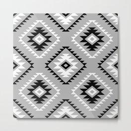 Aztec Style Motif Pattern Monochrome Metal Print
