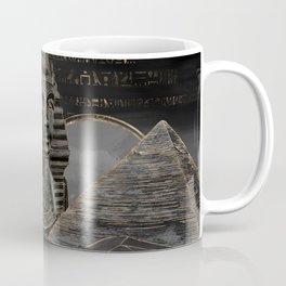 Tutankhamun on Egyptian pyramids landscape Coffee Mug