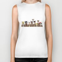 levi Biker Tanks featuring Christmas with Squad Levi 2.0 by PaigeAWArt