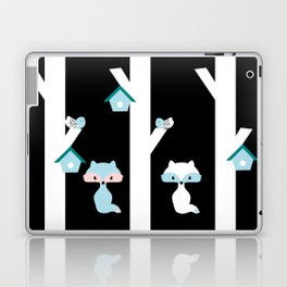 Foxes and birds at night Laptop & iPad Skin