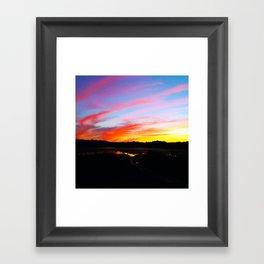 Sunset in the wood Framed Art Print