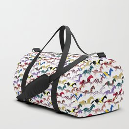 Off to the Horse Races Jockey Silk Pattern Duffle Bag