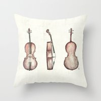 cello Throw Pillows featuring Cello by Mike Koubou