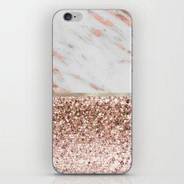 Warm chromatic - rose gold marble iPhone Skin