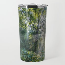 Sun Rays in a Forest Travel Mug