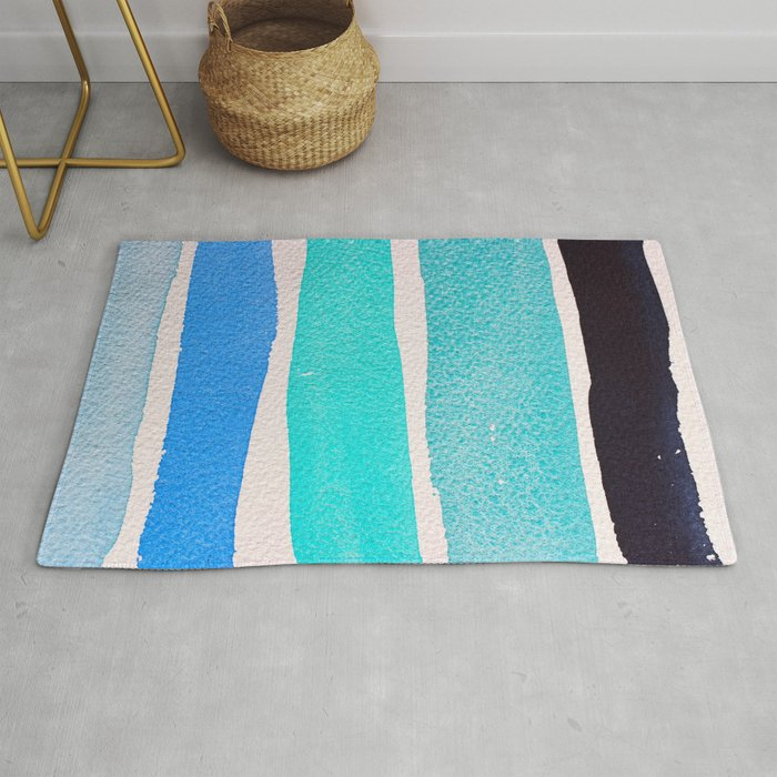 Bright Blue Sea Ribbons Rug By