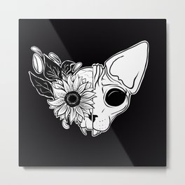 Sunflower Sphynx Skull - Hairless Cat - Creepy Kitten Metal Print