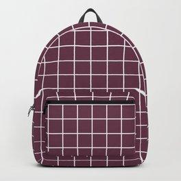 Wine dregs - violet color - White Lines Grid Pattern Backpack