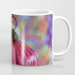 Pink Christmas Ball With Colorful Vintage Embroidery Background Coffee Mug