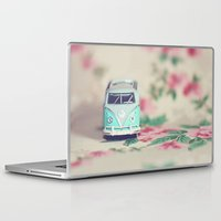 volkswagon Laptop & iPad Skins featuring Aqua VW Bus with Roses by Anna Dykema Photography