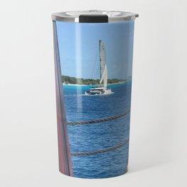 Barbados Catamaran Sailing Along The Coast Travel Mug