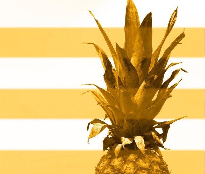 Pineapple with yellow stripes - summer feeling Metal Travel Mug