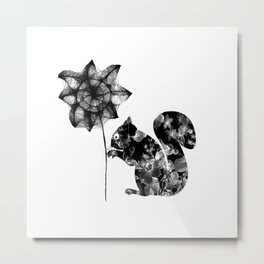 Squirrel and the flower Metal Print