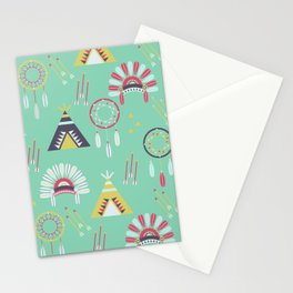 Indian Pattern Mint Stationery Cards