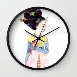Watercolor Korean beauty - Red Bow Wall Clock
