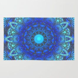 Blues  Watercolor Flower Mandala Rug
