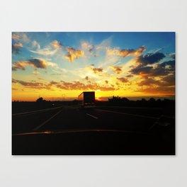 behind a truck Canvas Print