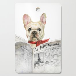 French bulldog with newspaper, bonjour Cutting Board