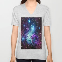 Fox Fur Nebula : Purple Teal Galaxy Unisex V-Neck