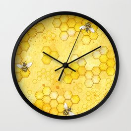 Meant to Bee - Honey Bees Pattern Wall Clock