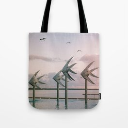 Cairns Woven Fish Sculpture (Group) | Cairns Australia Ocean Sunrise Travel Photography Tote Bag