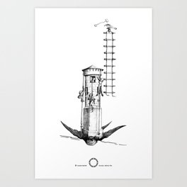 The Hearts Hunters and the magical tower for impossible love. Art Print