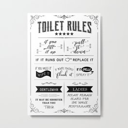 Toilet Rules Metal Print